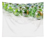 Composition With Green Marbles On White Background Tapestry
