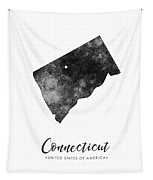 Connecticut State Map Art - Grunge Silhouette Tapestry