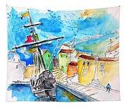 Conquistador Boat In Portugal Tapestry