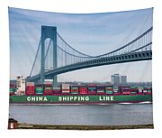 Container Ship Passing The Verrazano Bridge Tapestry