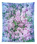 Cool Blue Apple Blossoms Tapestry