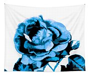 Cool Blue Rose Tapestry