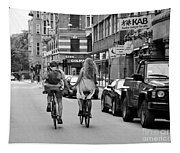 Copenhagen Lovers On Bicycles Bw Tapestry