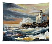 Coquille River Lighthouse At Hightide Tapestry