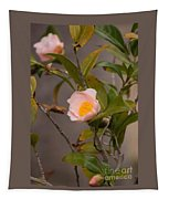 Coral Camellia Tapestry