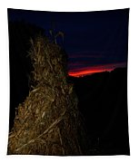 Corn Shock At Setting Sun Tapestry