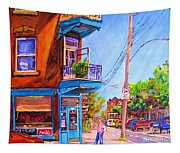Corner Deli Lunch Counter Tapestry