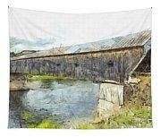 Cornish Windsor Covered Bridge Pencil Tapestry