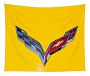Corvette Emblem On Yellow Tapestry