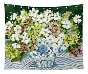 Cosmos And Hydrangeas In A Chinese Vase Tapestry