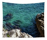 Cote D Azur - Stark White And Silky Azure Blue Tapestry