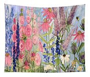 Cottage Flowers With Dragonfly Tapestry