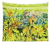 Cottage Gate Seen Through Sun Daisies Tapestry