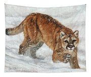 Cougar In The Snow Tapestry