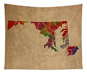 Counties Of Maryland Colorful Vibrant Watercolor State Map On Old Canvas Tapestry