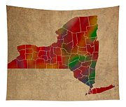 Counties Of New York Colorful Vibrant Watercolor State Map On Old Canvas Tapestry