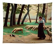 Country Shepherdess  Tapestry