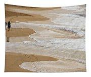 Couple Walking Makena Beach Tapestry