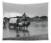 Covered Wagon River Ford And Cable Ferry 1903 Tapestry