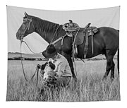 Cowboy, His Horse And Dog Tapestry