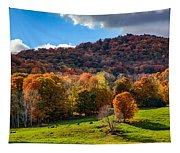 Cows In Pomfret Vermont Fall Foliage Tapestry