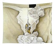 Cow's Skull With Calico Roses By Georgia O'keeffe Tapestry