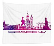 Cracow City Skyline Purple Tapestry