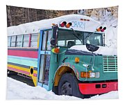 Crazy Painted Old School Bus In The Snow Tapestry