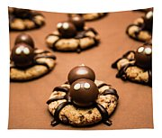 Creepy Crawly Spider Bites. Halloween Food Tapestry