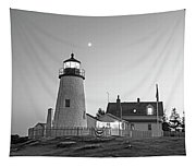Crescent Moon Over The Pemaquid Point Lighthouse Pemaquid Me Black And White Tapestry