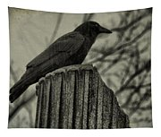 Crow Perched On A Old Column In Rain Tapestry
