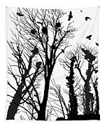 Crows Roost 1 - Black And White Tapestry