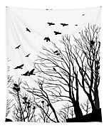Crows Roost 2 - Black And White Tapestry