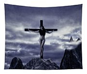 Crucifixion On The Mountain Tapestry