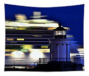 Cruise Ship At Bug Light Tapestry