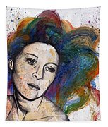 Crystal - Street Art Female Portrait With Rainbow Hair Tapestry