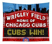 Cubs Win Wrigley Field Chicago Illinois Recycled Vintage License Plate Baseball Team Art Tapestry