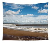 Cumulus Clouds Passing Across The Beach At Skegness Lincolnshire England Tapestry