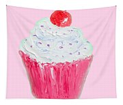 Cupcake Painting On Pink Background Tapestry