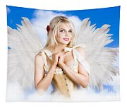 Cupid Angel Of Love Flying High With Fairy Wings Tapestry