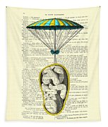 Curled Up Baby With Parachute Tapestry