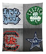 Custom 4 Team License Plates Sport Art No 1 Tapestry