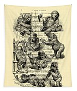 Baby Monkeys Playing Black And White Antique Illustration Tapestry