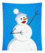 Cute Happy Snowman Tapestry