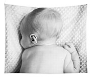 Cute Newborn Baby Black And White Tapestry