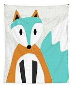 Cute Orange And Blue Fox- Art By Linda Woods Tapestry