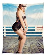Cute Pinup Girl Looking Surprised On Beach Pier Tapestry