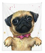 Cute Pug Puppy Tapestry