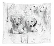 Cute White Salukis With Puppies Tapestry