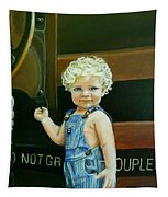 Cutie By The Train Tapestry